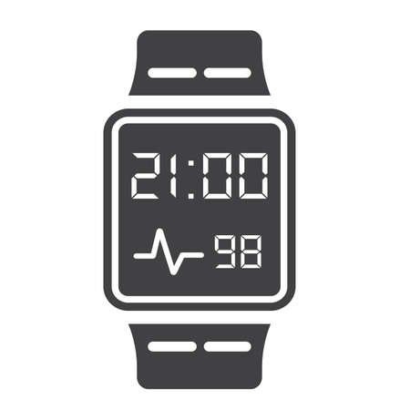 sports application: Smart watch solid icon, gadget and device, vector graphics, a glyph pattern on a white background, eps 10.