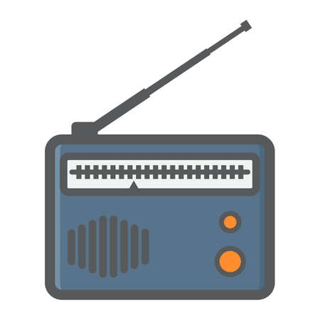 shortwave: Radio colorful line icon, fm and communication, vector graphics, a filled pattern on a white background, eps 10. Illustration