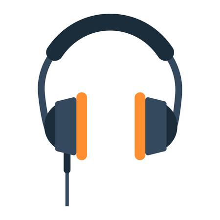 portable audio: Headphone flat icon, listen and music, vector graphics, a colorful solid pattern on a white background, eps 10. Illustration