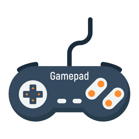 Gamepad flat icon, console and joystick, vector graphics, a colorful solid pattern on a white background, eps 10. Illustration