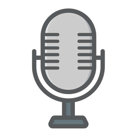 audio plug: Microphone colorful line icon, studio and sound, vector graphics, a filled pattern on a white background, eps 10.
