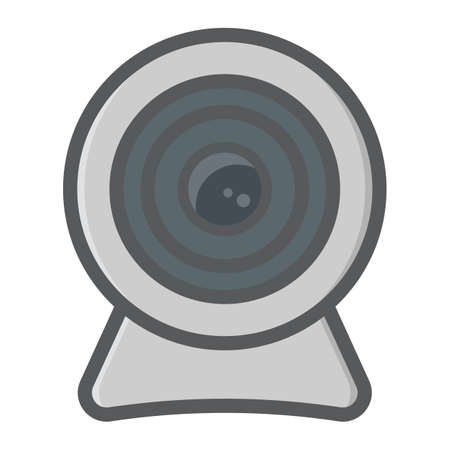 cam: Webcam colorful line icon, device and camera, vector graphics, a filled pattern on a white background, eps 10. Illustration