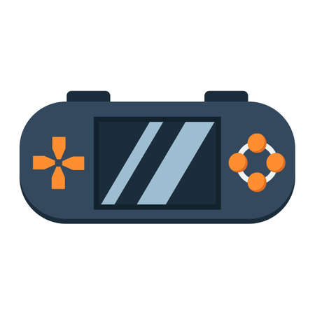 Handheld game console flat icon, controller and gadget, vector graphics, a colorful solid pattern on a white background, eps 10.