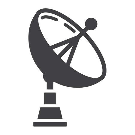 Satellite Dish solid icon, antenna and radar, vector graphics, a glyph pattern on a white background, eps 10.