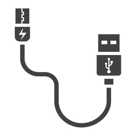 USB cable solid icon, connector and charger, vector graphics, a glyph pattern on a white background, eps 10.