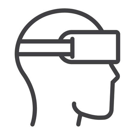 ar: Virtual reality glasses line icon, game and electronic, vector graphics, a linear pattern on a white background, eps 10.