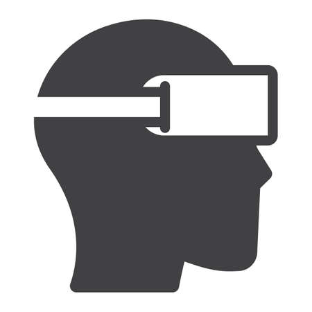 Virtual reality glasses solid icon, game and electronic, vector graphics, a glyph pattern on a white background, eps 10.
