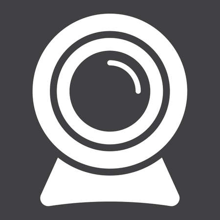 cam: Webcam solid icon, device and camera, vector graphics, a glyph pattern on a black background, eps 10. Illustration