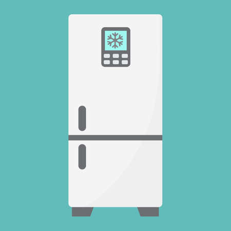 refrigerator: Fridge flat icon, refrigerator and appliance, a colorful solid pattern Illustration