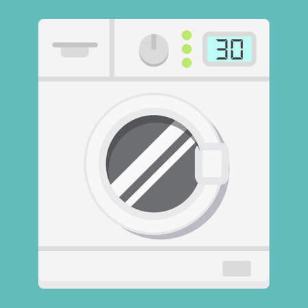washhouse: Washing machine flat icon, household and appliance, vector graphics, a colorful solid pattern on a white background, eps 10.