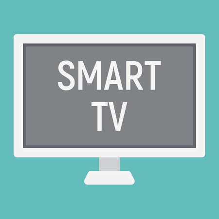lcd tv: Smart TV flat icon, household and appliance, vector graphics, a colorful solid pattern on a white background, eps 10. Illustration