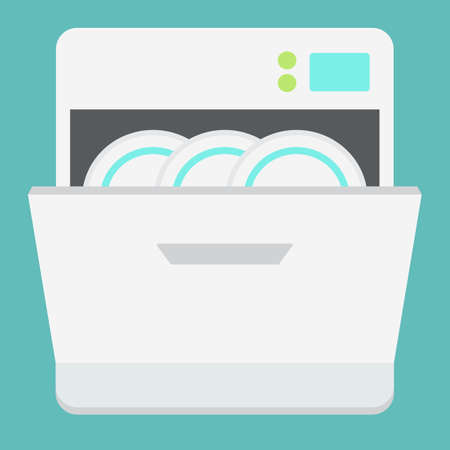 Dishwasher flat icon, kitchen and appliance.