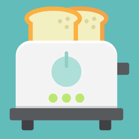 Broodrooster platte pictogram, keuken en apparaat.