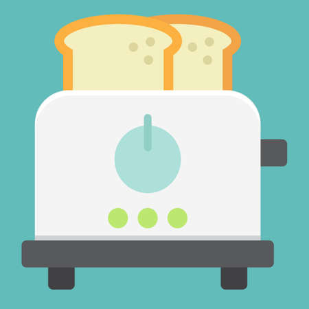 Icona piana di tostapane, cucina e apparecchio.