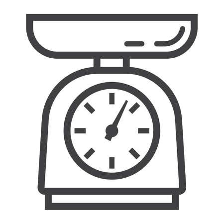 Küchenwaage Linie Symbol, Haushalt und Gerät. Vektorgrafik