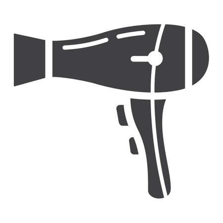 Secador de pelo icono, hogar y dispositivo sólidos, gráficos de vector, un modelo del glyph en un fondo blanco, EPS 10 del secador de pelo. Foto de archivo - 81597575