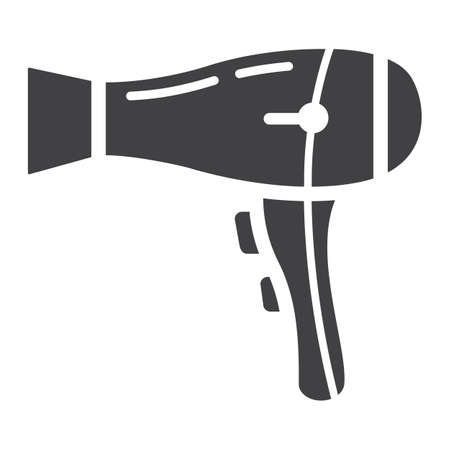 Hair dryer solid icon, household and appliance, vector graphics, a glyph pattern on a white background, eps 10.