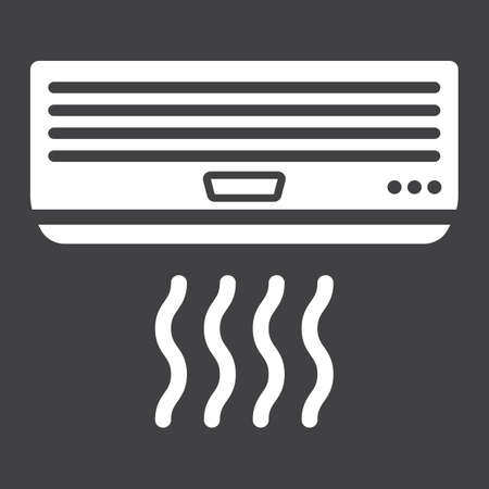 Air conditioner solid icon, electric and appliance, vector graphics, a glyph pattern on a black background, eps 10. Illustration