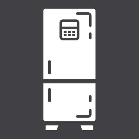 icebox: Fridge solid icon, refrigerator and appliance, vector graphics, a glyph pattern on a black background, eps 10. Illustration
