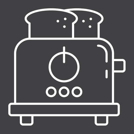 prepare: Toaster line icon, kitchen and appliance, vector graphics, a linear pattern on a black background, eps 10.