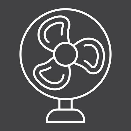 electric grid: Table Fan line icon, household and appliance, vector graphics, a linear pattern on a black background, eps 10.