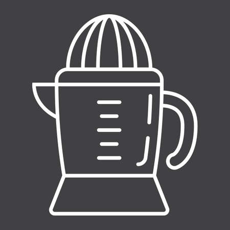 Han juicer line icon, household and appliance, vector graphics, a linear pattern on a black background, eps 10.