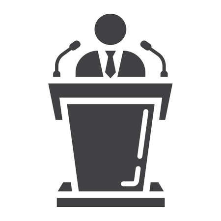 narrator: Speaker solid icon, business and tribune, vector graphics, a glyph pattern on a white background, eps 10.