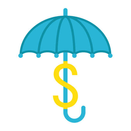 sheltering: Business Insurance flat icon, umbrella and dollar sign, vector graphics, a colorful solid pattern on a white background, eps 10.