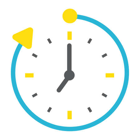Overtime flat icon, business and clock, vector graphics, a colorful solid pattern on a white background, eps 10.