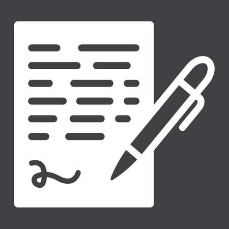 Pen ondertekenen solid icon, bedrijfscontract en handtekening, vector graphics, een glyph patroon op een zwarte achtergrond, eps 10. Stock Illustratie