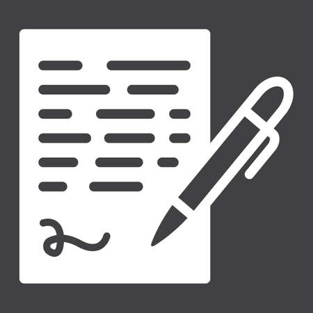 signing: Pen signing solid icon, business contract and signature, vector graphics, a glyph pattern on a black background, eps 10.