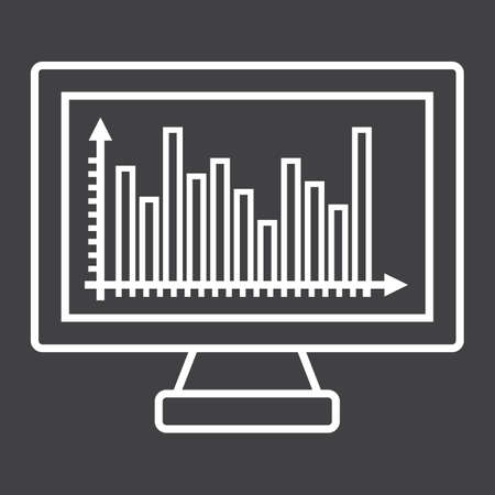 led: Monitor chart line icon Illustration