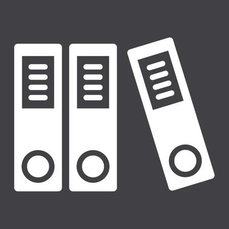 sort: Binders solid icon, business and folder, vector graphics, a glyph pattern on a black background, eps 10. Stock Photo