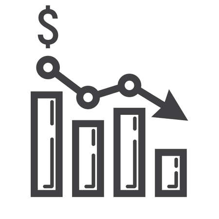 solid background: Declining graph line icon, business and finance, chart sign vector graphics, a linear pattern on a white background, eps 10.