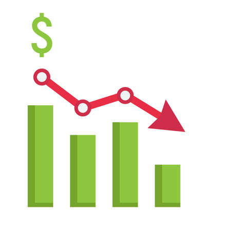 Declining graph flat icon, business and finance, chart sign vector graphics, a colorful solid pattern on a white background, eps 10. Ilustração Vetorial