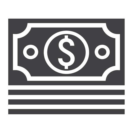 money packs: Bundle of money glyph icon, business and finance, cash sign vector graphics, a solid pattern on a white background, eps 10. Illustration