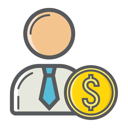 investor: Investor filled outline icon, business and finance, businessman sign.