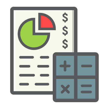 bookkeeper: Budget planing filled outline icon, business and finance, calculate sign graphics. Illustration