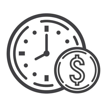 annuity: Time Is Money line icon, business and finance, coin sign vector graphics, a linear pattern on a white background, eps 10.