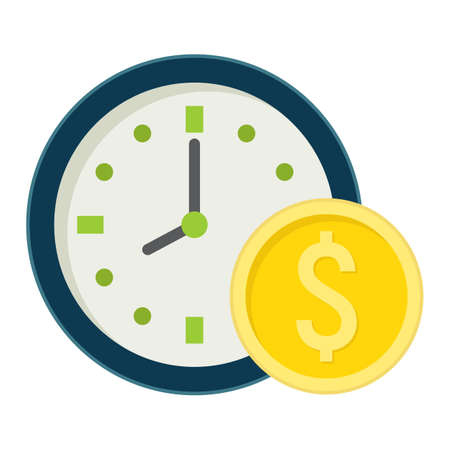 annuity: Time Is Money flat icon, business and finance, coin sign vector graphics, a colorful solid pattern on a white background, eps 10. Illustration