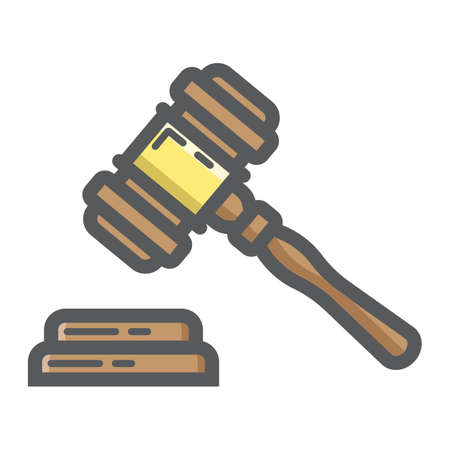 Auction hammer filled outline icon, business and finance, judge gavel sign graphics.