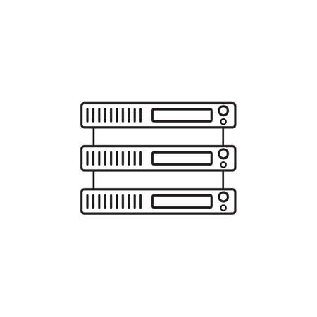 Server line icon, network storage outline vector