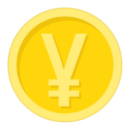 Yen coin flat icon, business and finance, money sign vector graphics, a colorful solid pattern on a white background, eps 10. Ilustracja