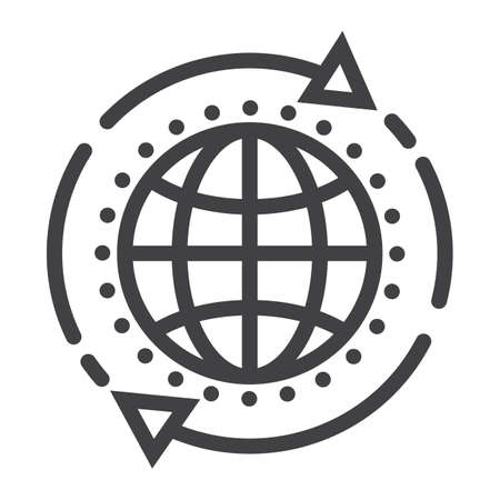 programming code: Global solution line icon, seo and development, globe sign vector graphics. Illustration