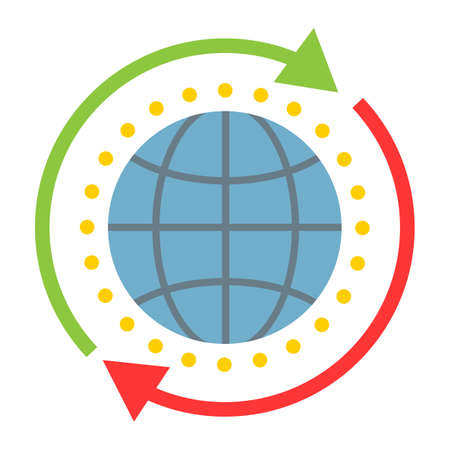 Global solution flat icon, seo and development, globe sign vector graphics.