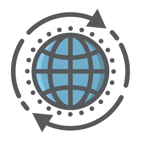 Global solution filled outline icon, seo and development, globe sign vector graphics.