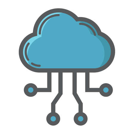 Cloud computing filled outline icon, seo and development, cloud sign vector graphics.