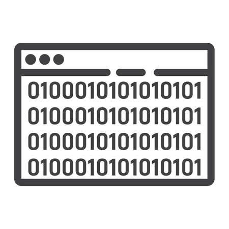 Custom coding line icon, seo and development, browser programming sign vector graphics. Banco de Imagens - 83316297