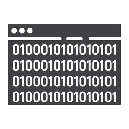 Custom coding glyph icon, seo and development, browser programming sign vector graphics. Ilustração