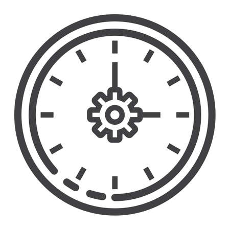 Time Management line icon, seo and development, clock sign vector graphics, a linear pattern on a white background, eps 10.